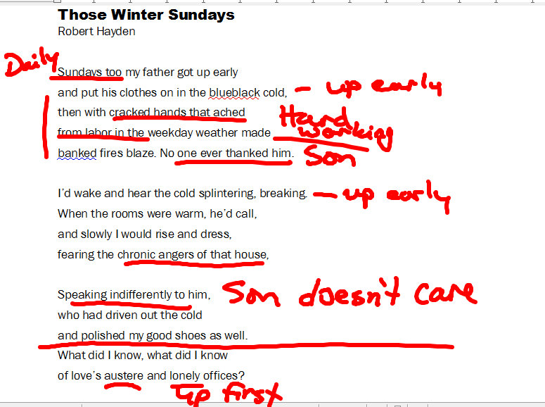 analysis robert hayden s those winter sundays